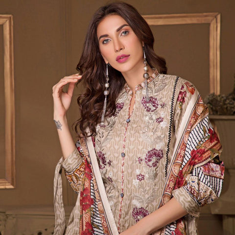 Rangreza Designer Embroidered Festive Lawn 3 Piece Un-Stitched Suit - 5 B - test-store-for-chase-value