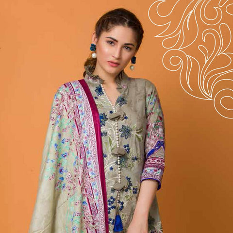Libas Embroidered Lawn 3 Piece Un-Stitched Suit Vol 3 - 1 B - test-store-for-chase-value