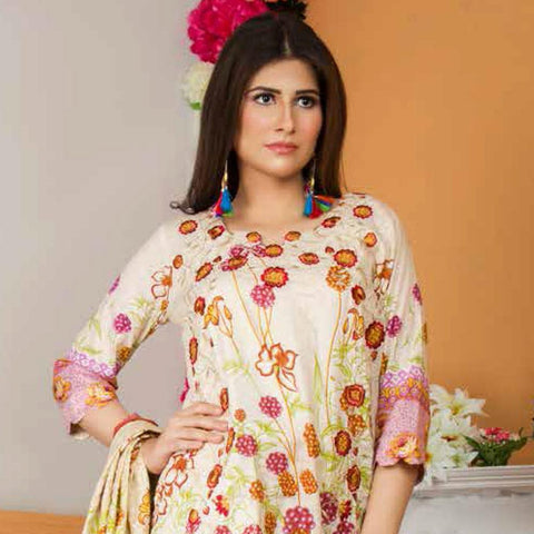Libas Embroidered Lawn 3 Piece Un-Stitched Suit Vol 3 - 2 A - test-store-for-chase-value