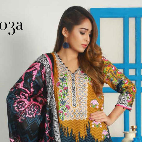 Libas Embroidered Lawn 3 Piece Un-Stitched Suit Vol 3 - 3 A - test-store-for-chase-value