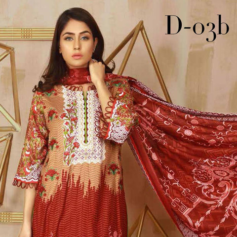 Libas Embroidered Lawn 3 Piece Un-Stitched Suit Vol 3 - 3 B - test-store-for-chase-value