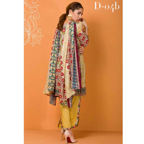 Libas Embroidered Lawn 3 Piece Un-Stitched Suit Vol 3 - 4 B - test-store-for-chase-value
