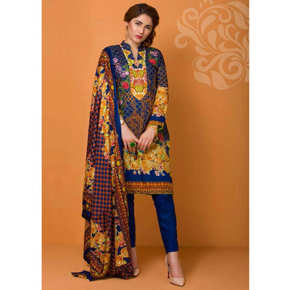 Libas Embroidered Lawn 3 Piece Un-Stitched Suit Vol 3 - 5 A - test-store-for-chase-value