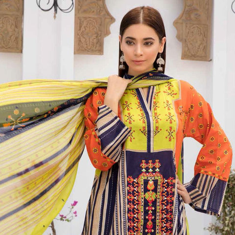 Noor Jahan Embroidered Lawn 3 Piece Un-Stitched Suit Vol RQ-219 - D 06 - test-store-for-chase-value