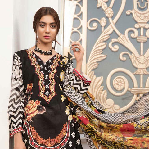 Noor Jahan Embroidered Lawn 3 Piece Un-Stitched Suit Vol RQ-219 - D 12 - test-store-for-chase-value