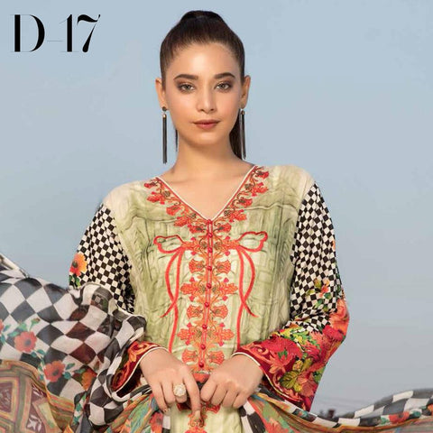 Noor Jahan Embroidered Lawn 3 Piece Un-Stitched Suit Vol RQ-219 - D 17 - test-store-for-chase-value