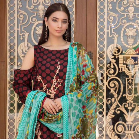 Noor Jahan Embroidered Lawn 3 Piece Un-Stitched Suit Vol RQ-219 - D 18 - test-store-for-chase-value