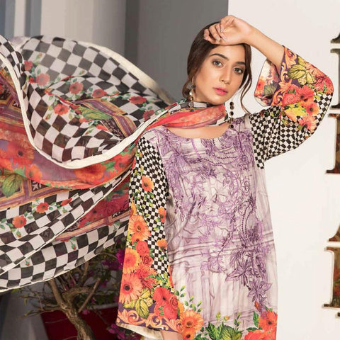 Noor Jahan Embroidered Lawn 3 Piece Un-Stitched Suit Vol RQ-219 - D 20 - test-store-for-chase-value