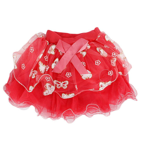 Girls Fancy Net Skirt - Red - test-store-for-chase-value