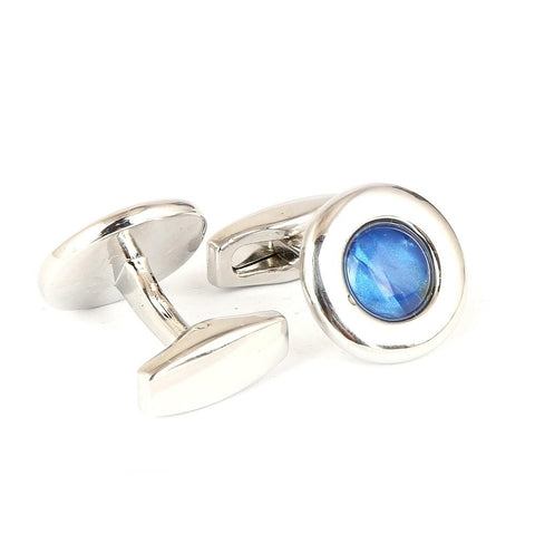 Men's Cufflinks - Silver & Blue - test-store-for-chase-value