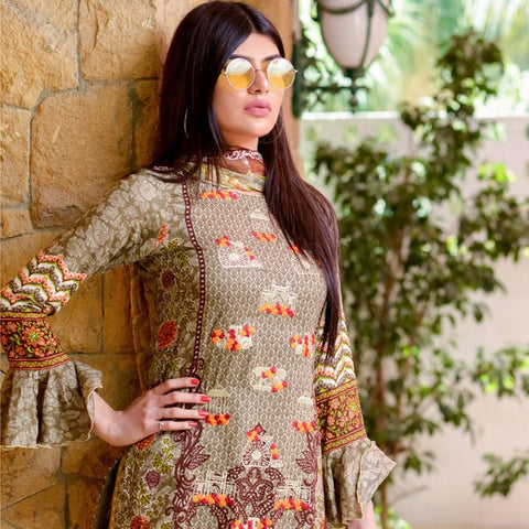 Ayesha Chottani Embroidered Lawn 3 Piece Un-Stitched Suit - 1 A - test-store-for-chase-value