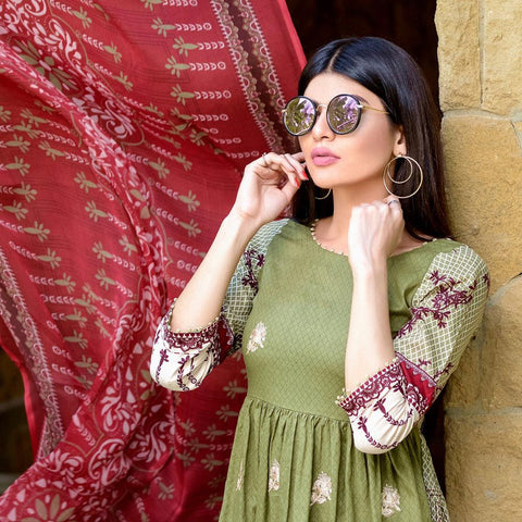 Ayesha Chottani Embroidered Lawn 3 Piece Un-Stitched Suit - 2 A - test-store-for-chase-value