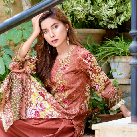 Ayesha Chottani Embroidered Lawn 3 Piece Un-Stitched Suit - 4 B - test-store-for-chase-value