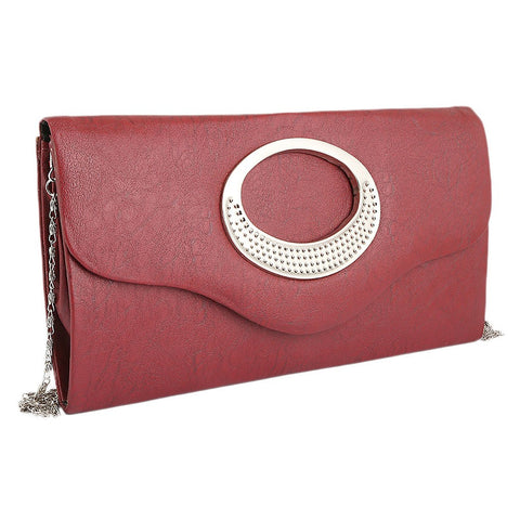 Women's Fancy Clutch 9074 - Maroon - test-store-for-chase-value