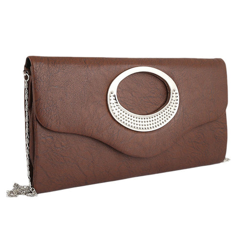 Women's Fancy Clutch 9074 - Dark Brown - test-store-for-chase-value