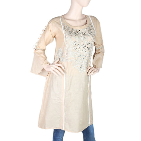 Women's Embroidered Short Kurti - Beige - test-store-for-chase-value