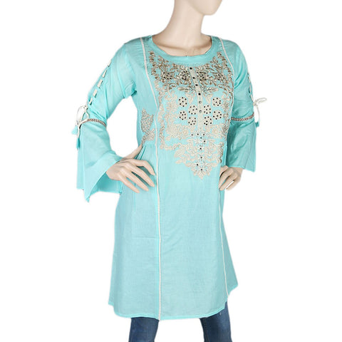 Women's Embroidered Short Kurti - Cyan - test-store-for-chase-value