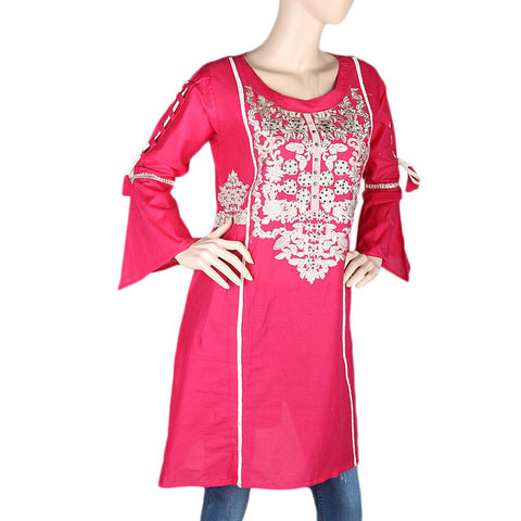 Women's Embroidered Short Kurti - Pink - test-store-for-chase-value