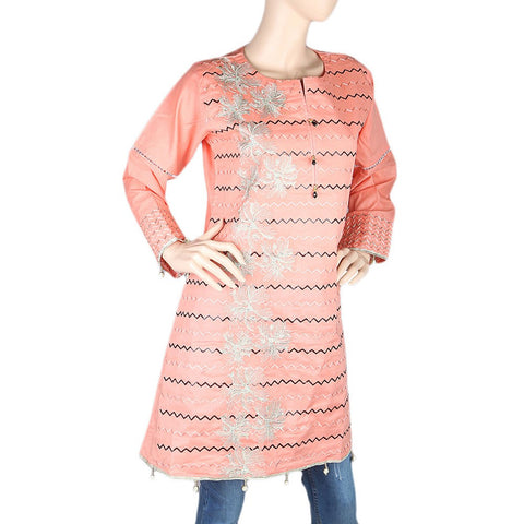 Women's Embroidered Short Kurti - Peach - test-store-for-chase-value