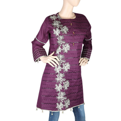 Women's Embroidered Short Kurti - Purple - test-store-for-chase-value