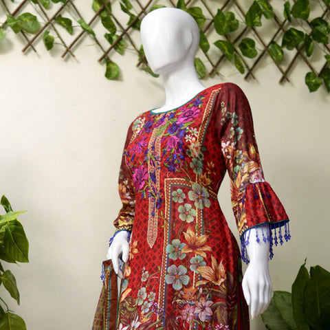 RungReet Embroidered Lawn 3 Piece Un-Stitched Suit Vol - 01 1B - test-store-for-chase-value