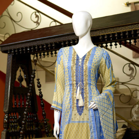 RungReet Embroidered Lawn 3 Piece Un-Stitched Suit Vol - 01 2B - test-store-for-chase-value