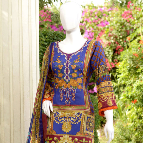 RungReet Embroidered Lawn 3 Piece Un-Stitched Suit Vol - 01 3A - test-store-for-chase-value