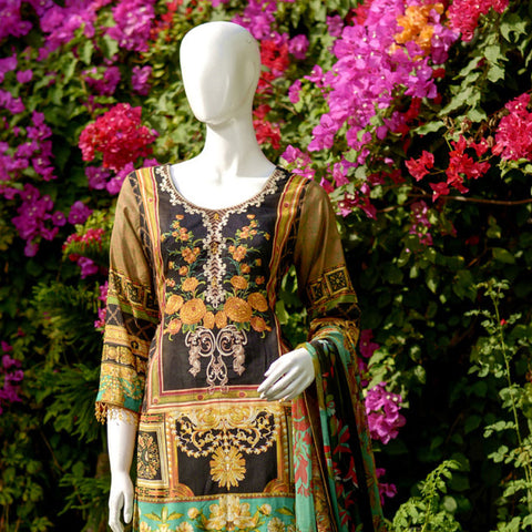 RungReet Embroidered Lawn 3 Piece Un-Stitched Suit Vol - 01 3B - test-store-for-chase-value