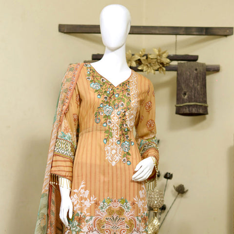 RungReet Embroidered Lawn 3 Piece Un-Stitched Suit Vol - 01 4A - test-store-for-chase-value