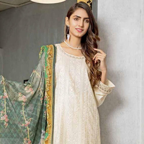 Rana Arts Ayesha Luxury Embroidered Lawn 3 Piece Un-Stitched Suit - AY-1206 A - test-store-for-chase-value
