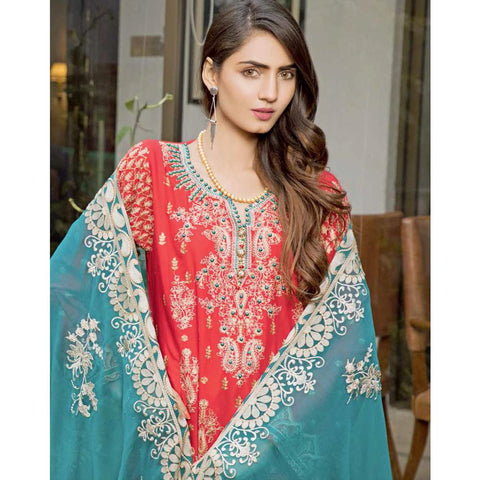 Rana Arts Ayesha Luxury Embroidered Lawn 3 Piece Un-Stitched Suit - EKR-1211 A - test-store-for-chase-value