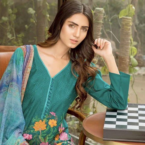 Rana Arts Ayesha Luxury Embroidered Lawn 3 Piece Un-Stitched Suit - AY-1230 A - test-store-for-chase-value