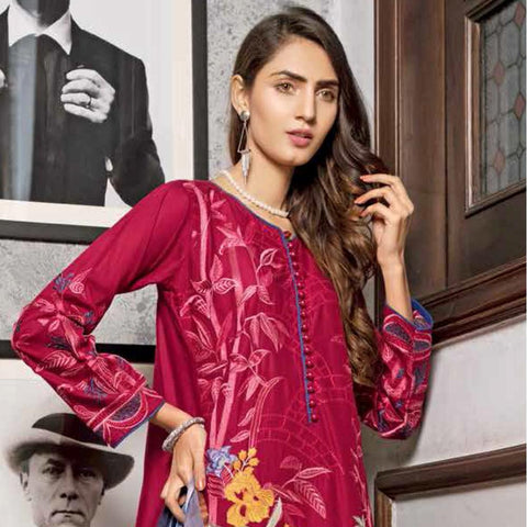 Rana Arts Ayesha Luxury Embroidered Lawn 3 Piece Un-Stitched Suit - EKR-1242 A - test-store-for-chase-value