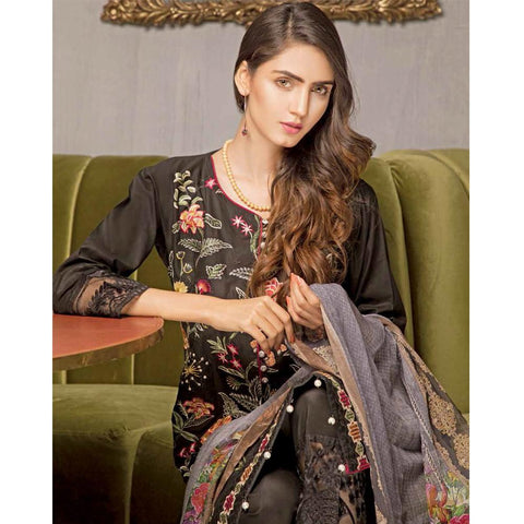 Rana Arts Ayesha Luxury Embroidered Lawn 3 Piece Un-Stitched Suit - EKR-1229 A - test-store-for-chase-value