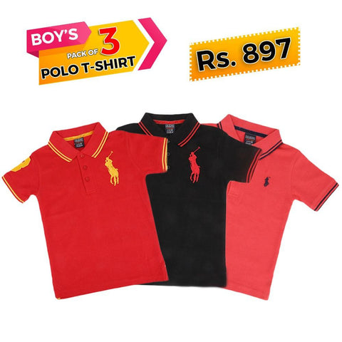 Boys Half Sleeves Polo T-Shirts Pack Of 3 - test-store-for-chase-value