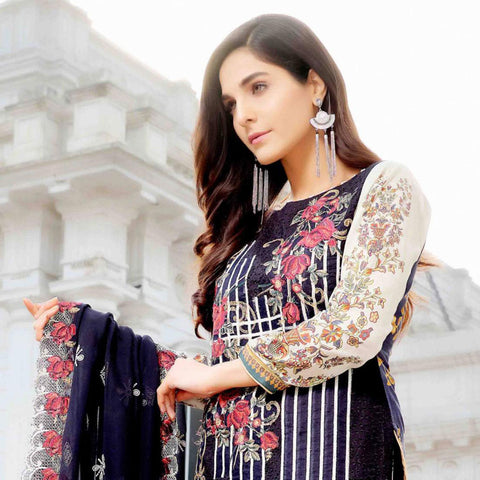 Royal Legacy Embroidered Lawn 3 Piece Un-Stitched Suit - 4443 A - test-store-for-chase-value