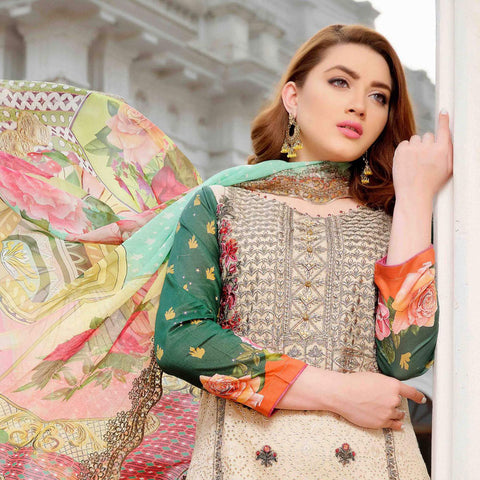 Royal Legacy Embroidered Lawn 3 Piece Un-Stitched Suit - 4444 A - test-store-for-chase-value