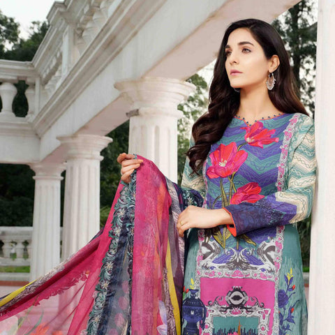 Royal Legacy Embroidered Lawn 3 Piece Un-Stitched Suit - 4446 A - test-store-for-chase-value