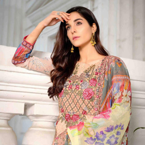 Royal Legacy Embroidered Lawn 3 Piece Un-Stitched Suit - 4451 B - test-store-for-chase-value