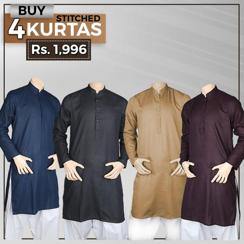 Men's Plain Stitched Kurta Pack Of 4 - Multi - test-store-for-chase-value