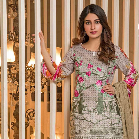 Amani Chikan Kari Embroidered Designer Lawn 3 Piece Un-Stitched Suit - 1 A - test-store-for-chase-value