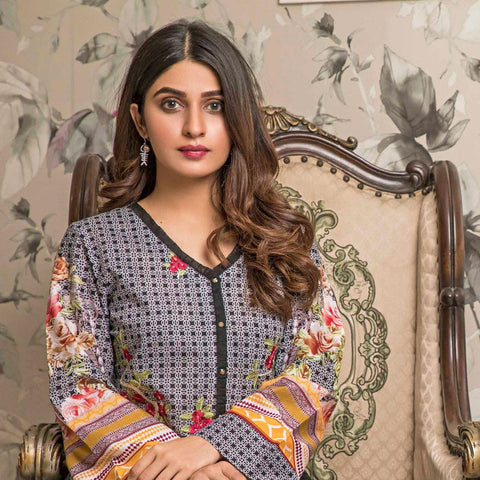 Amani Chikan Kari Embroidered Designer Lawn 3 Piece Un-Stitched Suit - 1 B - test-store-for-chase-value