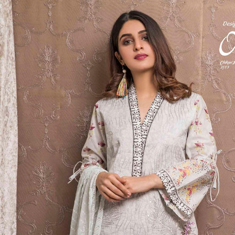 Amani Chikan Kari Embroidered Designer Lawn 3 Piece Un-Stitched Suit - 2 A - test-store-for-chase-value