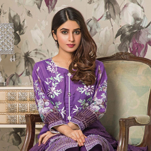 Amani Chikan Kari Embroidered Designer Lawn 3 Piece Un-Stitched Suit - 3 A - test-store-for-chase-value