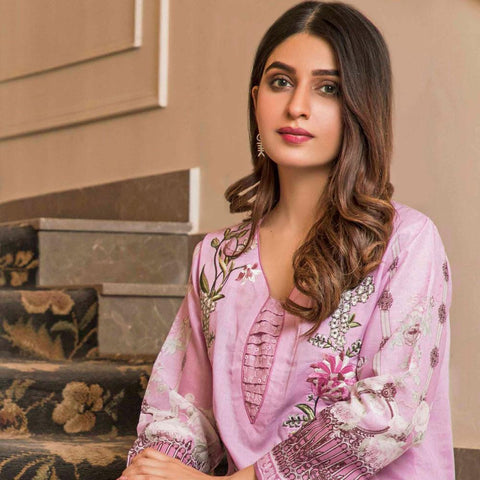 Amani Chikan Kari Embroidered Designer Lawn 3 Piece Un-Stitched Suit - 3 B - test-store-for-chase-value