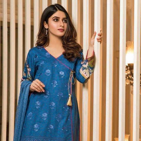 Amani Chikan Kari Embroidered Designer Lawn 3 Piece Un-Stitched Suit - 4 B - test-store-for-chase-value