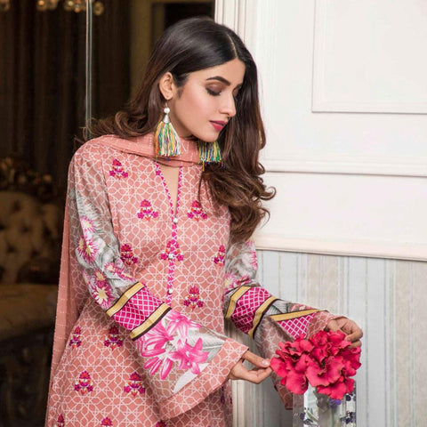 Amani Chikan Kari Embroidered Designer Lawn 3 Piece Un-Stitched Suit - 5 A - test-store-for-chase-value
