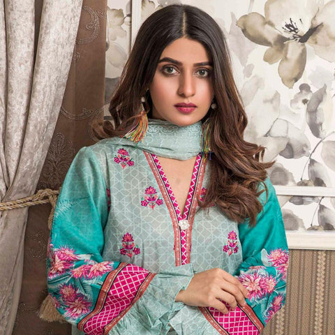 Amani Chikan Kari Embroidered Designer Lawn 3 Piece Un-Stitched Suit - 5 B - test-store-for-chase-value