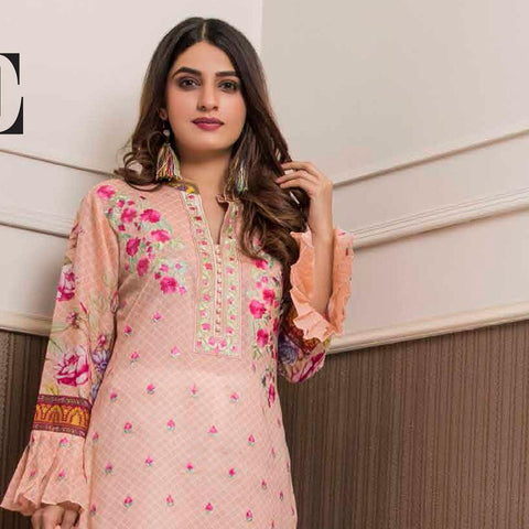 Amani Chikan Kari Embroidered Designer Lawn 3 Piece Un-Stitched Suit - 6 A - test-store-for-chase-value