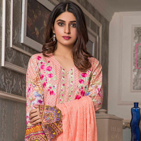 Amani Chikan Kari Embroidered Designer Lawn 3 Piece Un-Stitched Suit - 6 B - test-store-for-chase-value